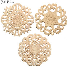 KiWarm 15cm Floral Wood Carved Corner Woodcarving Decal Onlay Applique Decorative Sculpture for Home Furniture Cabinets Decor(China)