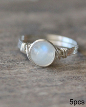 wire wrapped Moonstone ring 5pcs wholesale Handmade  Fashion unique girl gift crystal jewelry female ring