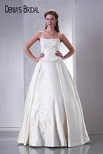Real Photos Spaghetti Straps Sleeveless A-Line Beaded Wedding Dresses Floor-Length Sweep Train Long Bridal Gowns(China)