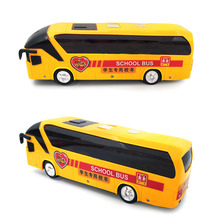 Electric Alloy Model Bus Music School Bus Toy For Children Toddler Boy Flashing & Musical Tourist Buses Classic Educational Toy(China)