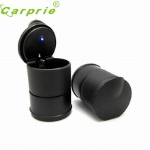 Tiptop NEW LED Portable Car Truck Auto Office Cigarette Ashtray Holder Cup Black Free Shipping L627 may05(China)
