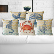 Marine Life Mediterranean Style Starfish Shell Cushion Covers Pillowcase Decorative Pillow Cover 45x45cm Home Deco(China)