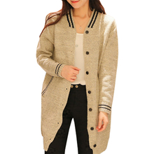 Spring fall cardigan women new winter sweater knit triped baseball coat College Wind long jumper clothing vestidos LXJ256