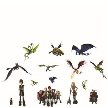 Dragons world movie wall decals How To Train Your Dragon anime 3d vinyl stickers kids room decoration boy posters free shipping