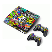 Sticker bomb skin for Sony Playstation 3 ps3 Slim Console Skin Sticker + 2 Controller Decals for dualshock 3 free shipping(China)