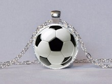 2017 Real Top Fashion Collares Collier Maxi Necklace Soccer Pendant Mom Jewelry Football Gift For Player Glass NecklacesHZ1(China)