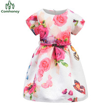 Baby Dress Girls Sun Dress 12T Floral Princess Short Sleeve Kids Dresses For Girls Tunic Party Baby Ball Gown With Belt Comhoney