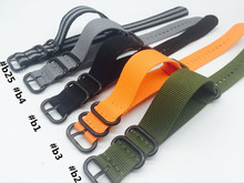 strap 22mm 24mm Nato Watch Straps All Black/Orange/Green/Blue Nylon Fabric Watchbands Stainless Steel Buckles Claps Durable