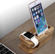 2017 New Bamboo Original Stand Charging Dock Station Bracket Accessories for iPhone 4 4s 5 5s 5c 6 6plus 7 8 X and watch(China)