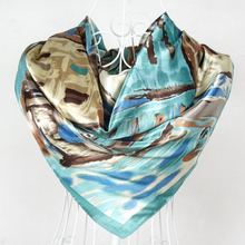 2015 New Arrival Female Blue Silk Scarves Fashion Accessories Satin Big Square Silk Scarf Printed For Women Winter Autumn Wraps(China)