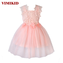 VIMIKID New XMAS Baby Girls Party Lace Tulle Flower Gown Fancy Dridesmaid Dress Sundress Girls Dress