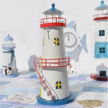Mediterranean Lighthouse Candlestick With Staircase Unique Candle Holder Crafts Miniature Home Decor Iron Lighthouse Ornaments(China)