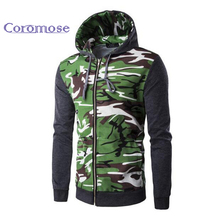 Coromose 2017 Autumn Winter Fashion Men Fleece Hoodie Cotton Camouflage Sweatshirt Slim Casual Men Coat Men Hoodie with Hat