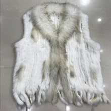 Lady Real Knitted Rabbit Fur Vest Waistcoat Raccoon Fur Collar Autumn Winter Women Fur Outerwear Female Gilet  Tassels VF1081