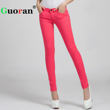 {Guoran}2017 Candy Color Women Jeans Pencil Pants Plus Size Stretch Jeans Leggings Female Trousers 25-31 Skinny Denim Jeans Pant(China)