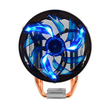Powerful Quiet CPU LED Light Cooling Fan 145x125x80mm Two Copper Heat Pipe Hydraulic Bearing for Desktops Computer(China)