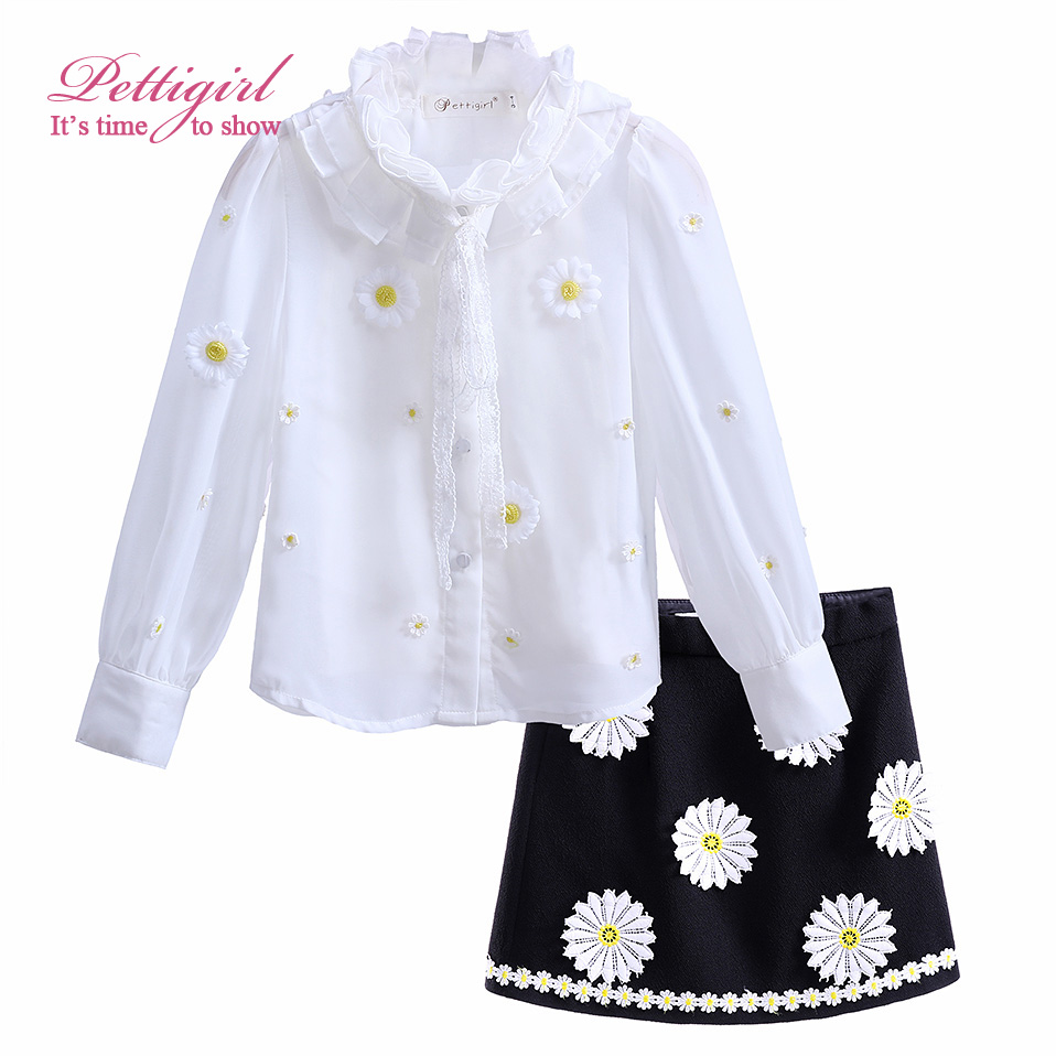 Pettigirl Floral Girl Clothing Sets White Full Tops and Vest Black Flower Skirt For Girls Suit Causal Kids Clothing CS90222-638F<br><br>Aliexpress