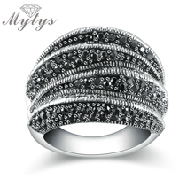 Mytys Brand Black Rings for Women Pave Setting Black Marcasite Blink Ring 2017 Fashion Design R1808(China)