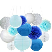 14pcs Mixed Royal Blue Light Blue White Party Tissue Pom Poms Hanging Paper Lantern Honeycomb Balls Themed Wedding Decor(China)