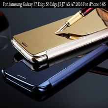 Case For Samsung Galaxy S7 Edge S6 Edge Mirror Clear View Flip Cover For Samsung S6 S5 C5 C7 Note 4 Leather phone Case Bags