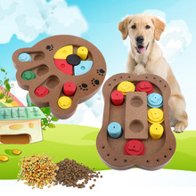 Eco-friendly Puppy Pet Toy Treated Wooden Dog Toy Educational Pet Bone Paw Puzzle Toy Interactive Toys for Dogs Cats Food(China)