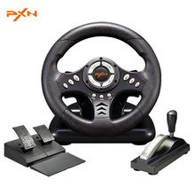 PXN-V18S Illusiveness USB Wired Vibration Motor Racing Games Steering Wheel with Hand brake Pedals For PC Computer Racing Game