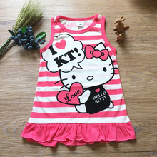Baby Girl Hello Kitty Dress 2016 Summer Cartoon Toddler Girls Dresses Children Girl Cotton Frock Designs  Kids Clothes Girls