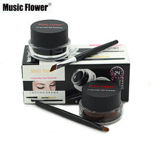 Music Flower Brand Eye Makeup 2 in 1 Brown + Black Gel Eyeliner Make Up Water-proof Smudge-proof Set Eye Liner Kit With Brushes(China)