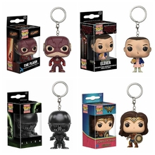 Marvel Funko POP The Flash KeychainDC Woder Women toy Figure Alien Eleven Dobby Snape Dragon Ball Vegeta Pocket Pop Toys Pendant