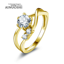 AINUOSHI 10k Solid Yellow Gold Engagement Ring Fashion Wedding Bague Customized Design Round Cut Women Simulated Diamond Rings