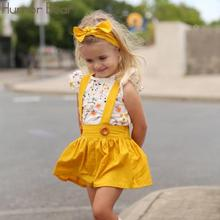 PKR 968.29  33%OFF | Humor Bear Summer 2019 Baby Girls Clothes Suit Fly Sleeve T-shirt Tops+Floral Suspenders Skirt+Headband Party Kids Clothing Set