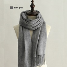 100% Wool Scarf Solid Unisex scarves for women Wraps Grey/black with Tassels Classic design winter blanket scarf