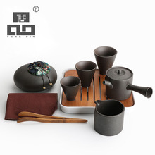 TANGPIN 2017 new arrival japanese black crockery teapot ceramic tea cup set chinese tea set with tray