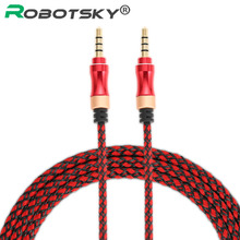 Buy Robotsky AUX Cable Car iPhone iPad Samsung MP3 Stereo Audio Cord Gold Plated 3.5mm Male Male Plug Jack Mic Headset Cables for $1.37 in AliExpress store