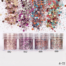 1 Box Pink Colorful Nail Glitter Dust Fine Mix 3D Nail Gold Silver Sequins Acrylic Glitter Powder Large Nail Art Decoration 10ML(China)