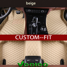 Veeleo + Custom Made - 6 Colors Leather Car Floor Mats for Lincoln MKX 2010-2013 All Weather Anti-slip Full Set 3D Carpets Liner