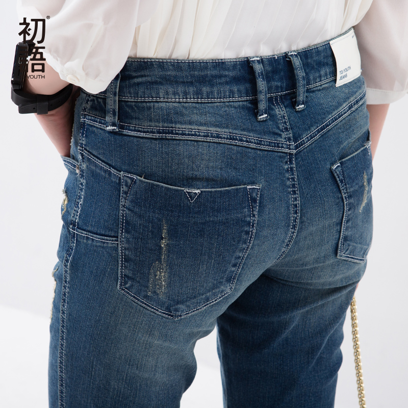 Toyouth New Arrival Women Cotton Ankle-Length Pants Jeans Pockets Button Casual Pencil Pants