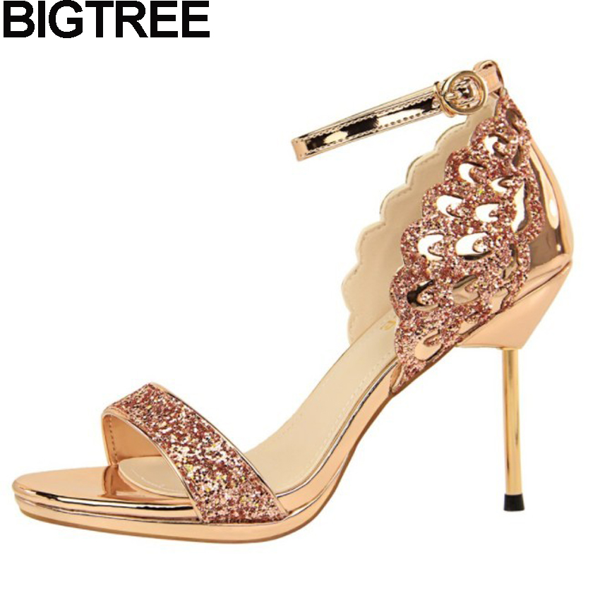 BIGTREE Luxury Women High Heel Bling Sequined Shiny Ankle Strap Sandals Cut Platform Heel Stiletto Wedding Fetish Shoes