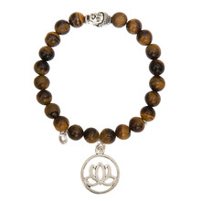 New Women Men Bracelet Buddha Lotus Zircon Stone Wristband Bangles Silvery Bead Tiger Eye Meditation Jewelry Prayer Bijoux