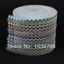 2014 Strass Crystal Promotion Plastic Mesh Trimming 16 Rows Sew On High Quality 10mm Silver 10y/roll Base for Garment Cpam free(China)