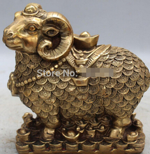 free shipping Marked Chinese Bronze FengShui Wealth Money Auspicious Animal Sheep Goat Statue(China)