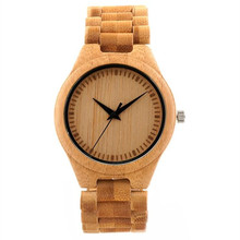 Hot Selling Mens Top Brand Design Wood Dial Full Bamboo Wooden Quartz Watches Japan 2035 Miyota Movement(China)