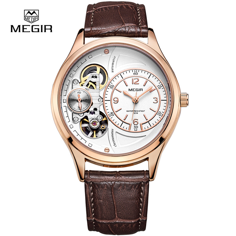 MEGIR hot brand waterproof quartz watch man fashion leather strap wristwatches men casual male masculino relojes watch hour 2017<br>