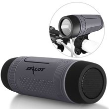 Bluetooth Speaker Zealot S1 Outdoor 4000mAh Power Bank Bicycle Portable Subwoofer Bass Speaker LED light +Bike Mount+Carabiner