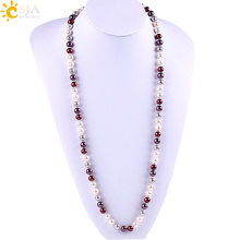CSJA Imitation Simple Design Pearl Baroque Long Necklaces European and American Mala Beads Hand Knotted Boho Lady Necklace E810(China)