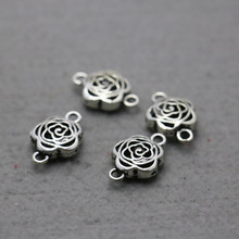 10PCS Hot Wholesale Accessory buttons Fittings for snaps Flowers components 15*23mm Findings Jewelry Making Design Silver-plate
