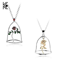 5 Types Beauty and the Beast Rose Necklaces & Pendants Beauty Beast Belle Rose Candle Statement Necklace Valentines Day Gift(China)