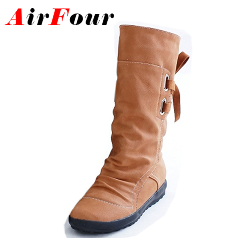 Airfour New Autumn &amp; Winter Boots Shoes Woman Lace-up Mid-calf Boots Platform Shoes Round Toe Students Flats Boots Casual Shoes<br>