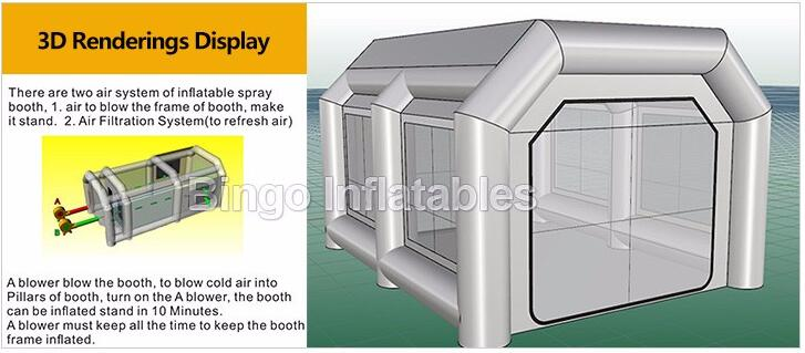 inflatable spray booth with air system