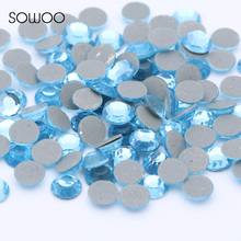 1440pcs/lot Eco-friendly lead free Lower 90PPM Hot Fix Rhinestone Round Aquamarine Color Iron on Rhinestone baby studs(China)